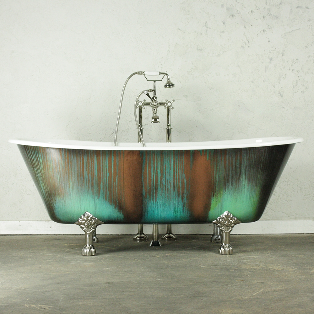 the lanercostbt68 68 cast iron french bateau clawfoot tub with copper patinated exterior plus drain