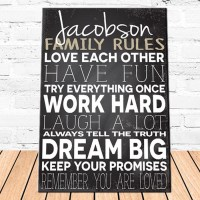 Personalized Family Love Rules Canvas | Personalized ...