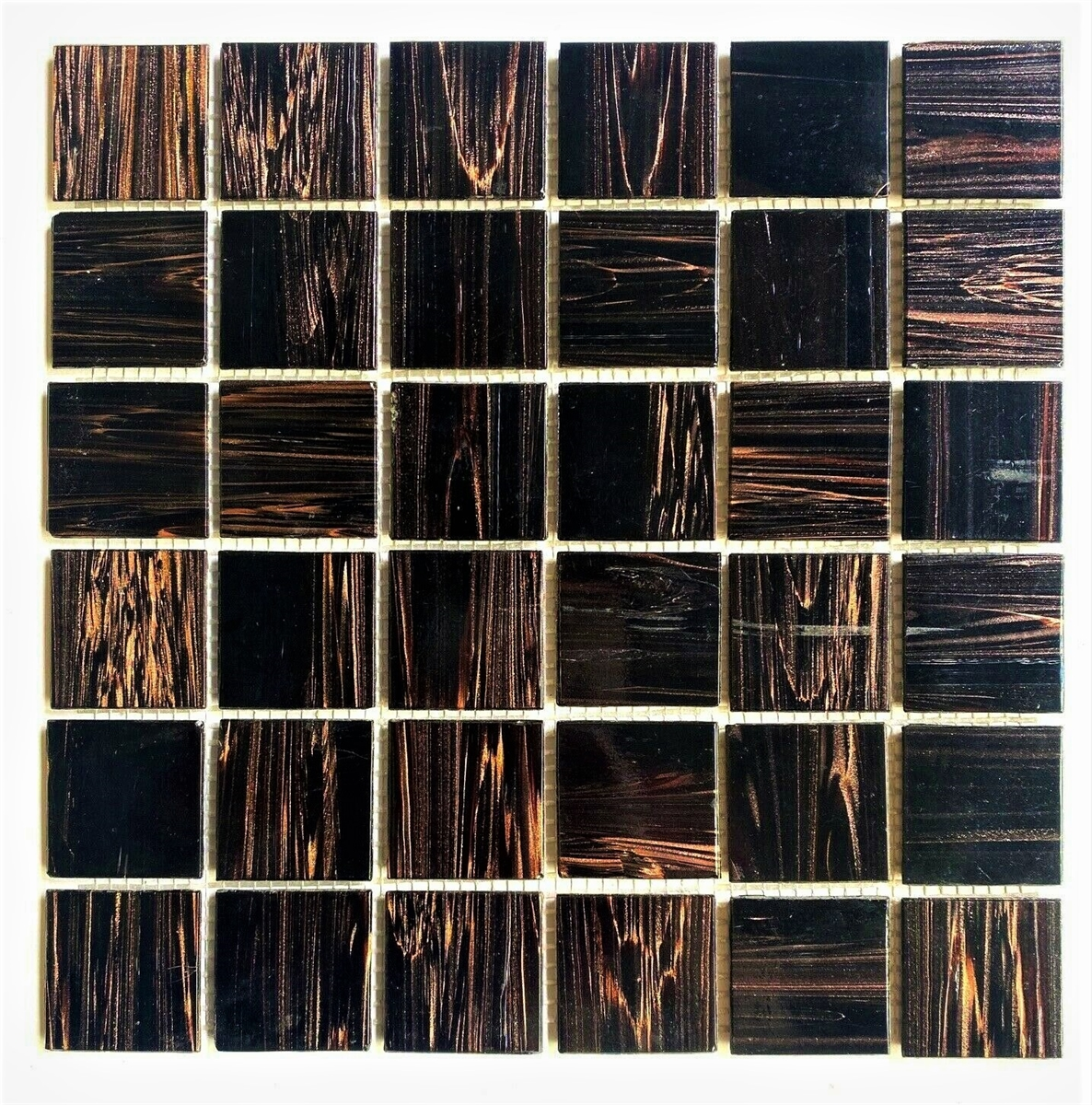 2x2 copper gold glimmer glass mosaic backsplash and wall tile