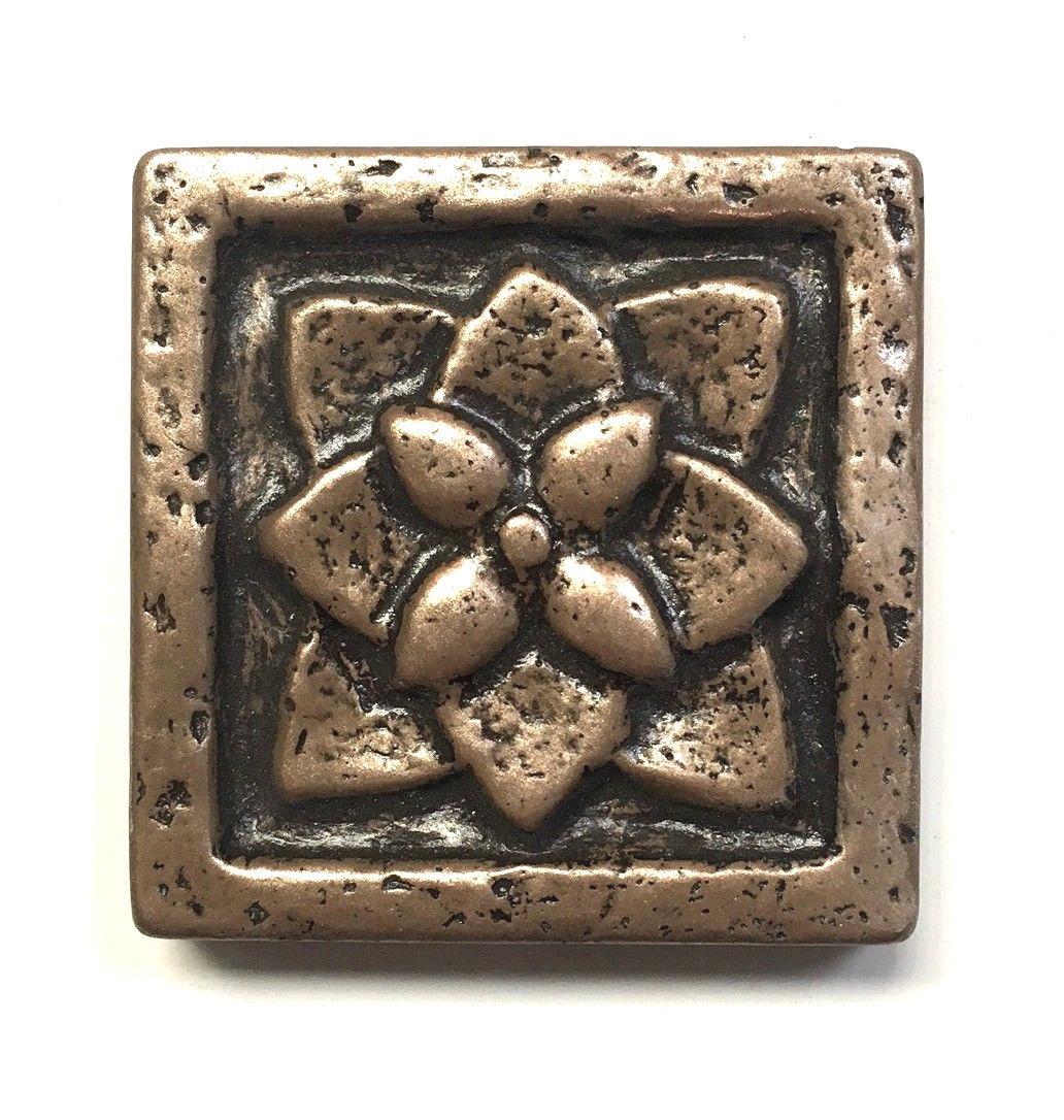 flora 2x2 gold bronze resin decorative insert accent art craft tile