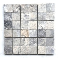 Silver Gray Travertine 2x2 Honed Filled Mosaic Tile