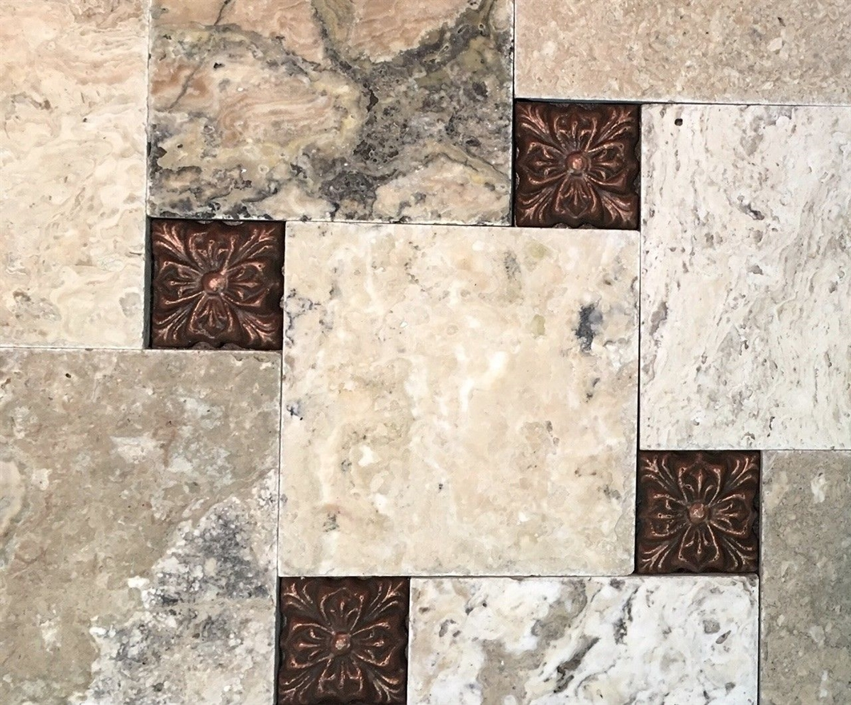 rosario 3x3 copper resin decorative insert accent craft wall tile