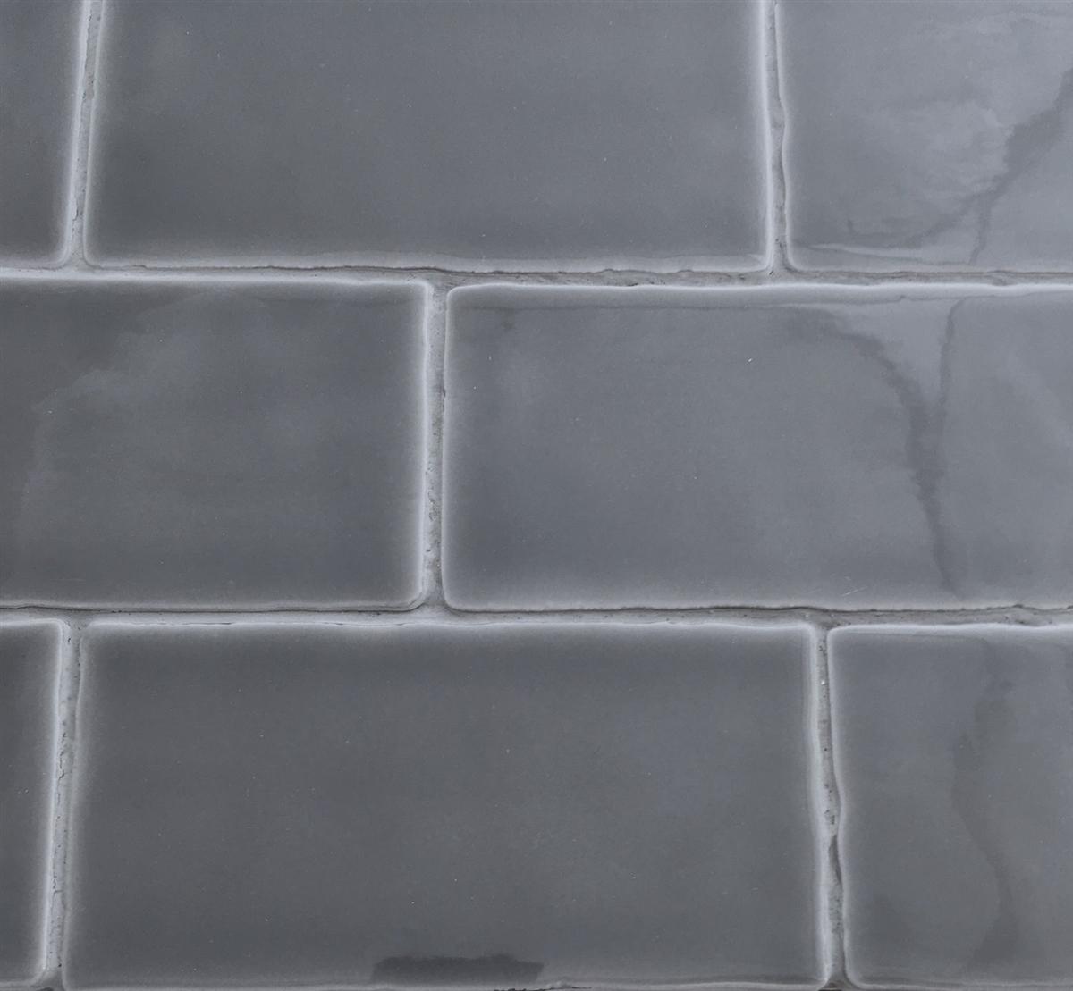 3x6 Dark Gray Glossy Subway Ceramic Tile