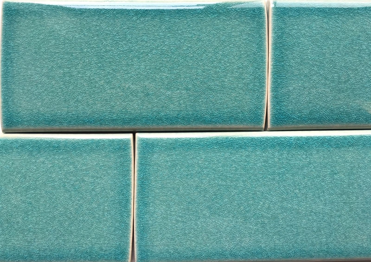 3x6 turquoise handmade glossy finish crackled ceramic tile