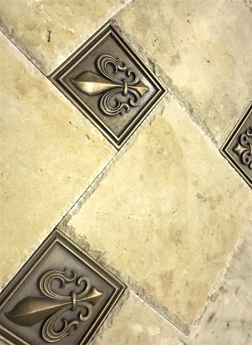 fleur de lis 4x4 gold resin decorative insert accent piece tile