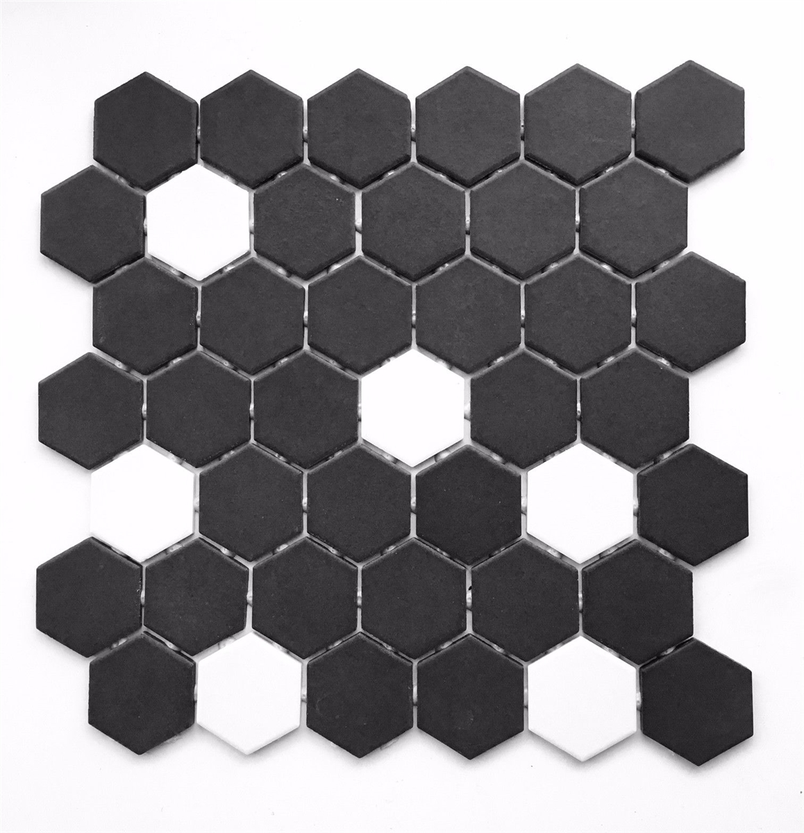black and white hexagon 2 matte porcelain mosaic tile