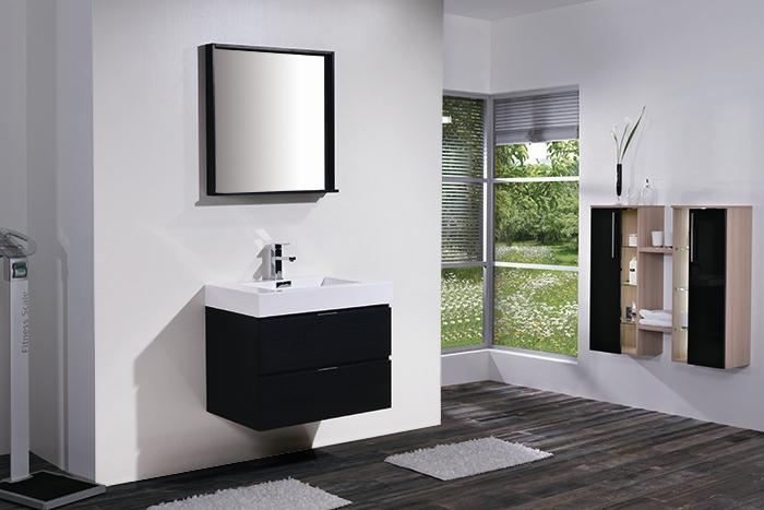 bliss 30 black wall mount modern bathroom vanity sink out of stock eta june 20