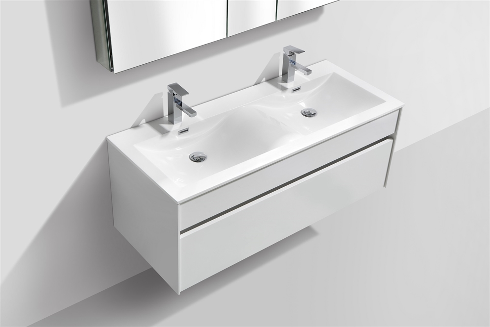 fitto 48 double sink high gloss white wall mount modern bathroom vanity final sale