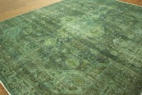 Unique Hand Knotted Overdyed 8x10 Blue Green Oriental Wool ...