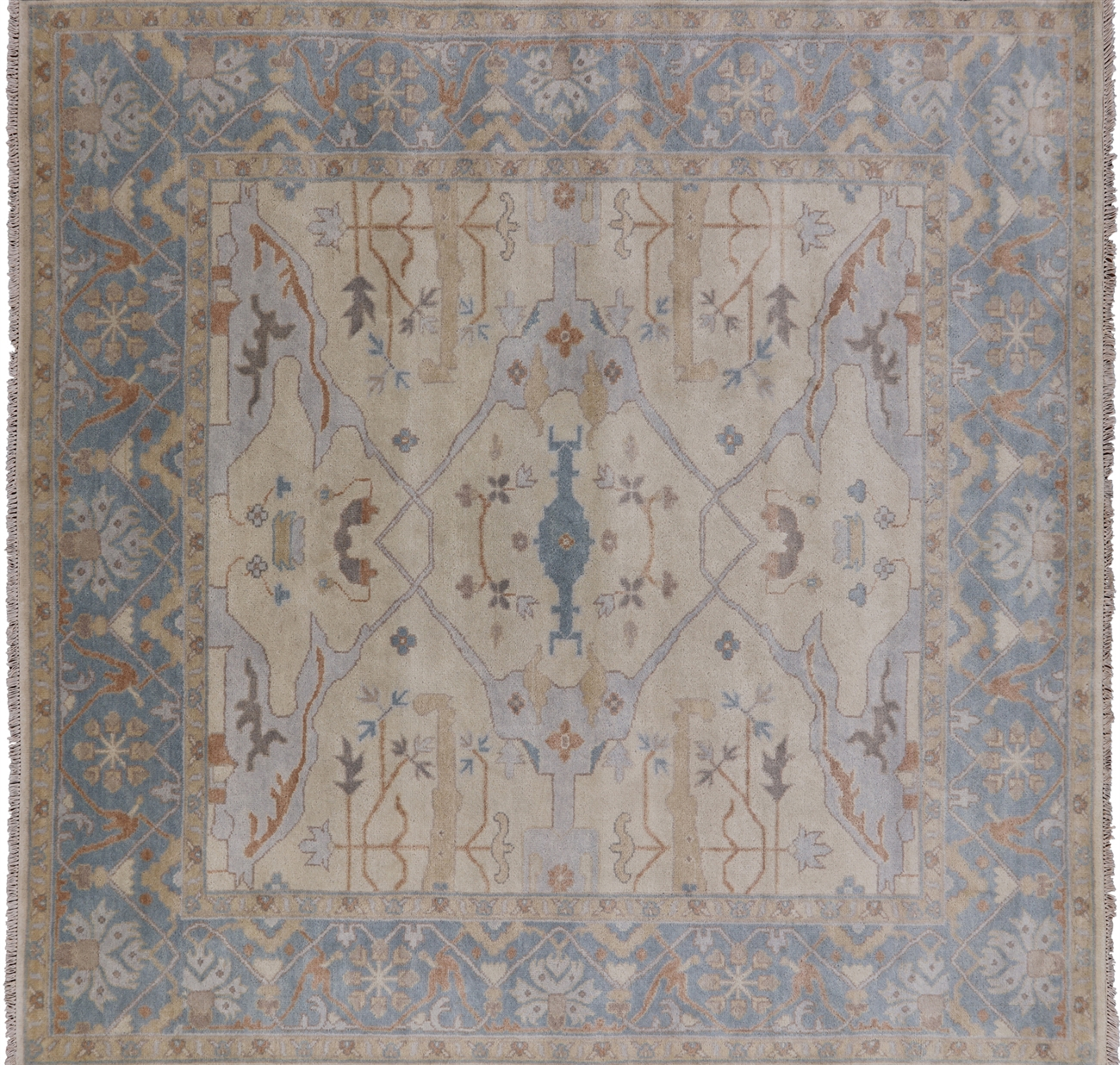square oushak hand knotted wool area rug 8 x 8 q1036