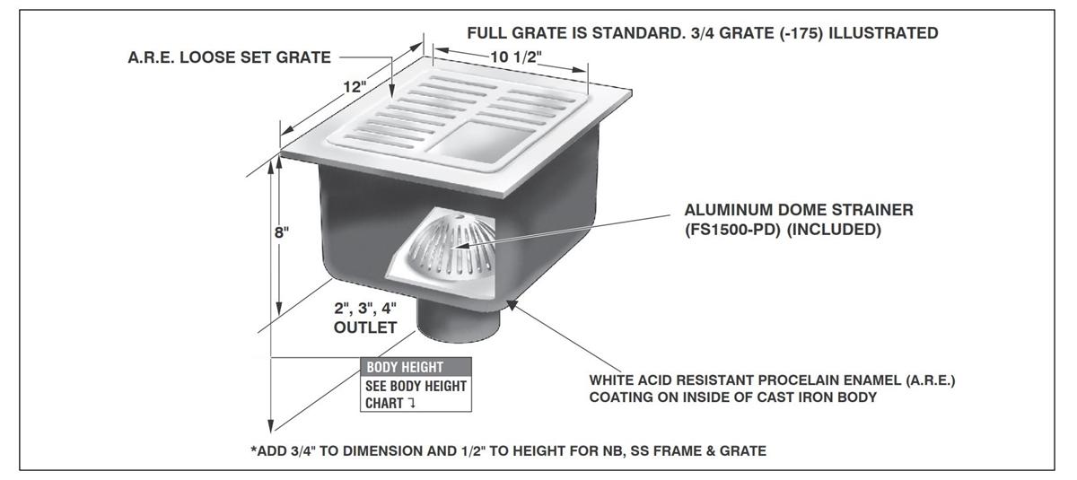 mifab fs1730 12 x 12 x 8 a r e cast iron sanitary floor sink