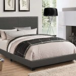 Indi Charcoal Grey Upholstered Bed With Chrome Nailhead Trim Coaster 350061