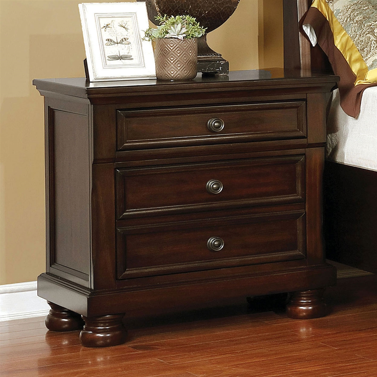 castor collection brown cherry nightstand with hidden drawer