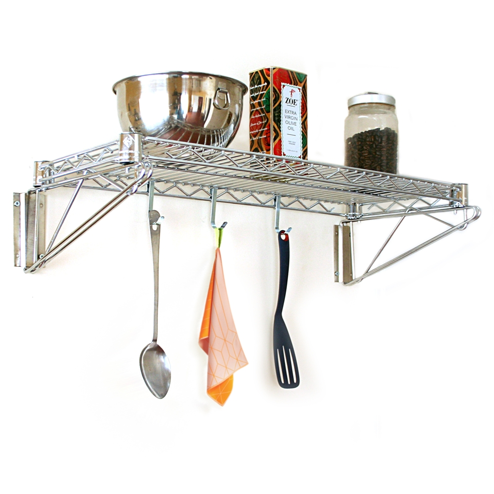 kitchen wire rack lowes stoves buy 24 d wall mounted shelving kits