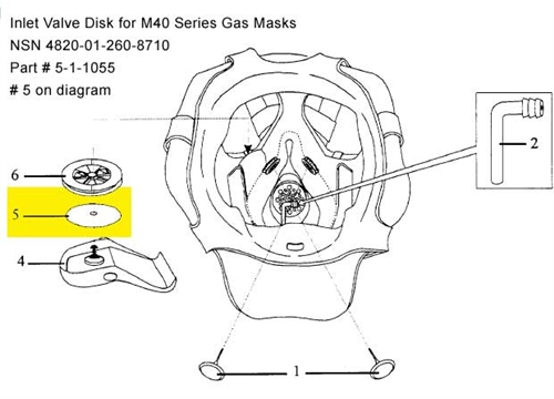 Inlet Valve Disk for M40 Series Gas Masks, NSN 4820-01-260