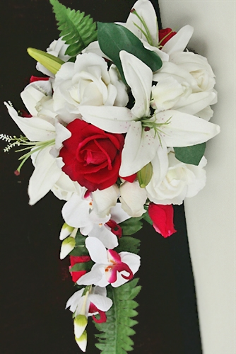 Natural Touch Off White Real Touch Roses Red Roses and Lilies Cascading Bouquet