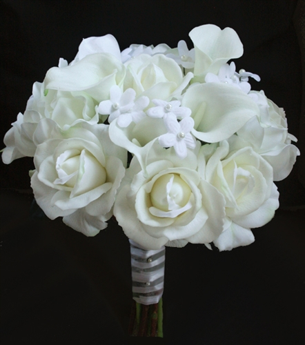 Natural Touch Ivory White Roses And Calla Lilies Bouquet
