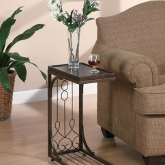 Wood Wall Units For Living Room Old World Design Ideas Brown Scroll Side Sofa Tray Snack Table W/ Copper ...