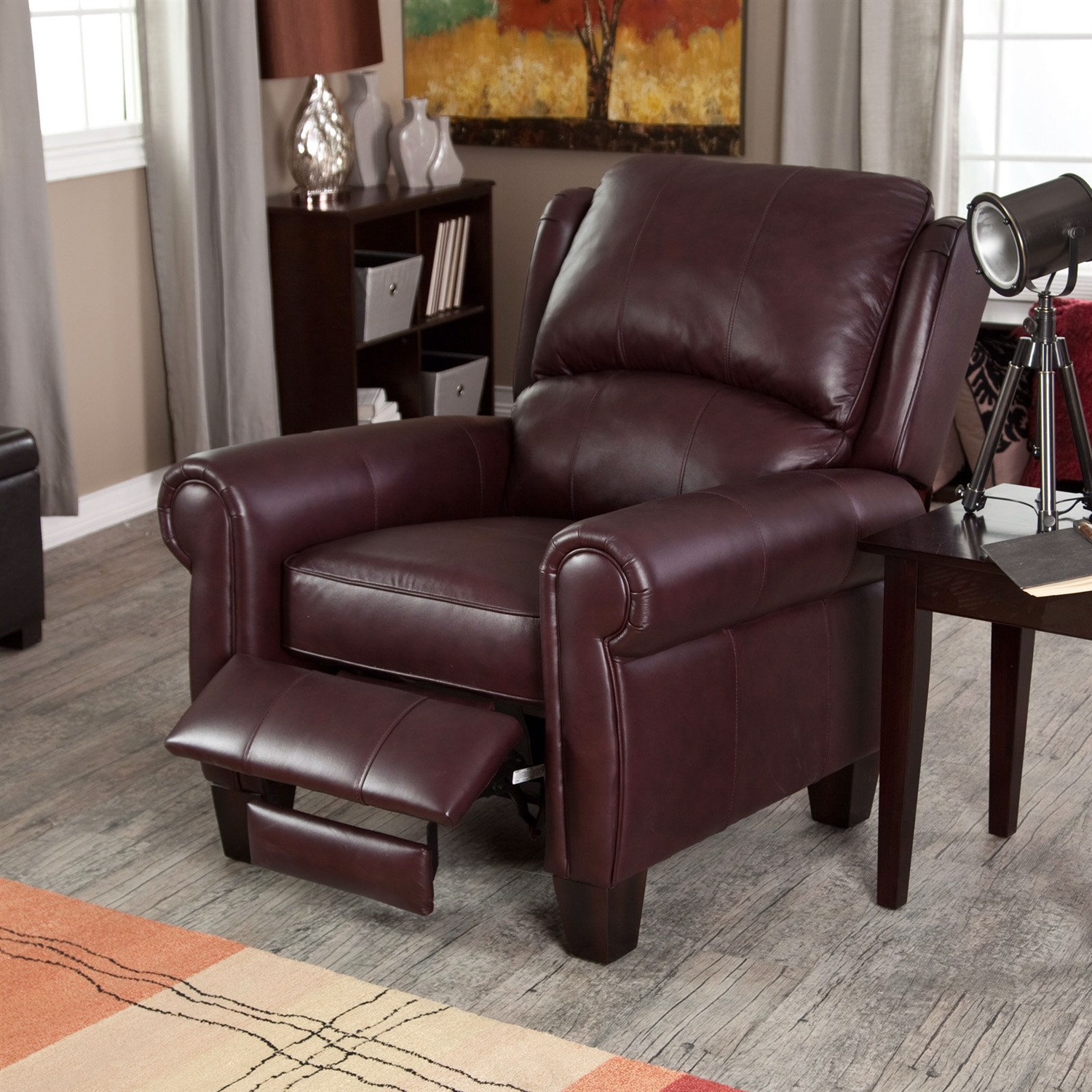Top Grain Leather Club Chair Burgundy Top Grain Leather Upholstered Wing Back Club