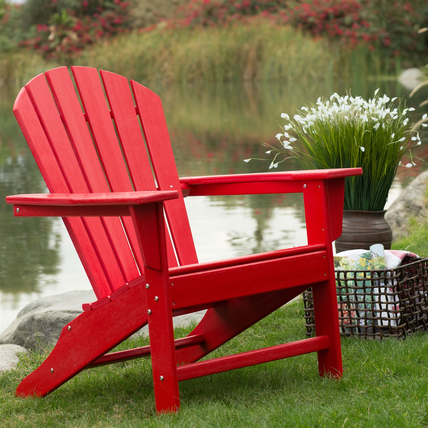 Red Adirondack Chairs Outdoor Patio Seating Garden Adirondack Chair In Red Heavy Duty Resin