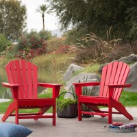 Outdoor Patio Seating Garden Adirondack Chair in Red Heavy ...