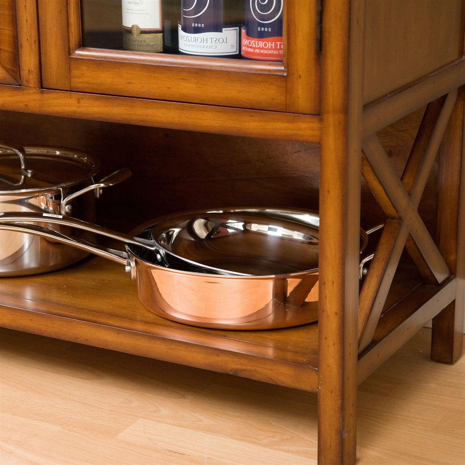 Wrought Iron Top 47- Bakers Rack In Heritage Oak Wood Finish