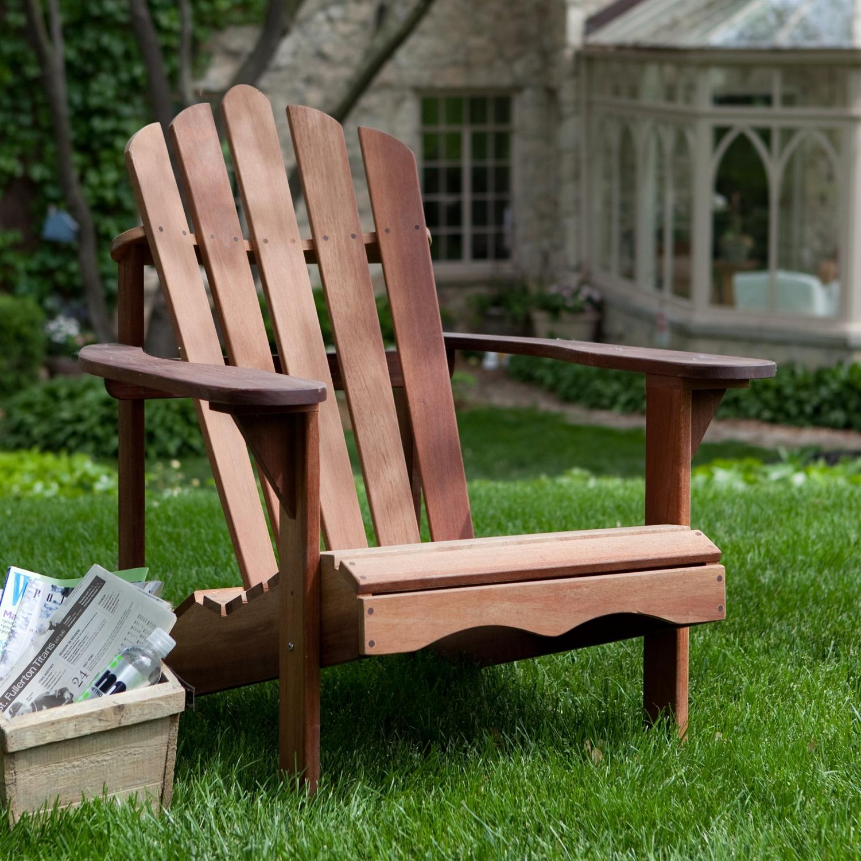 Ergonomic Outdoor Patio Adirondack Chair in Red Shorea