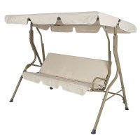 Outdoor Porch Swing Patio Deck Glider with Canopy in Beige ...