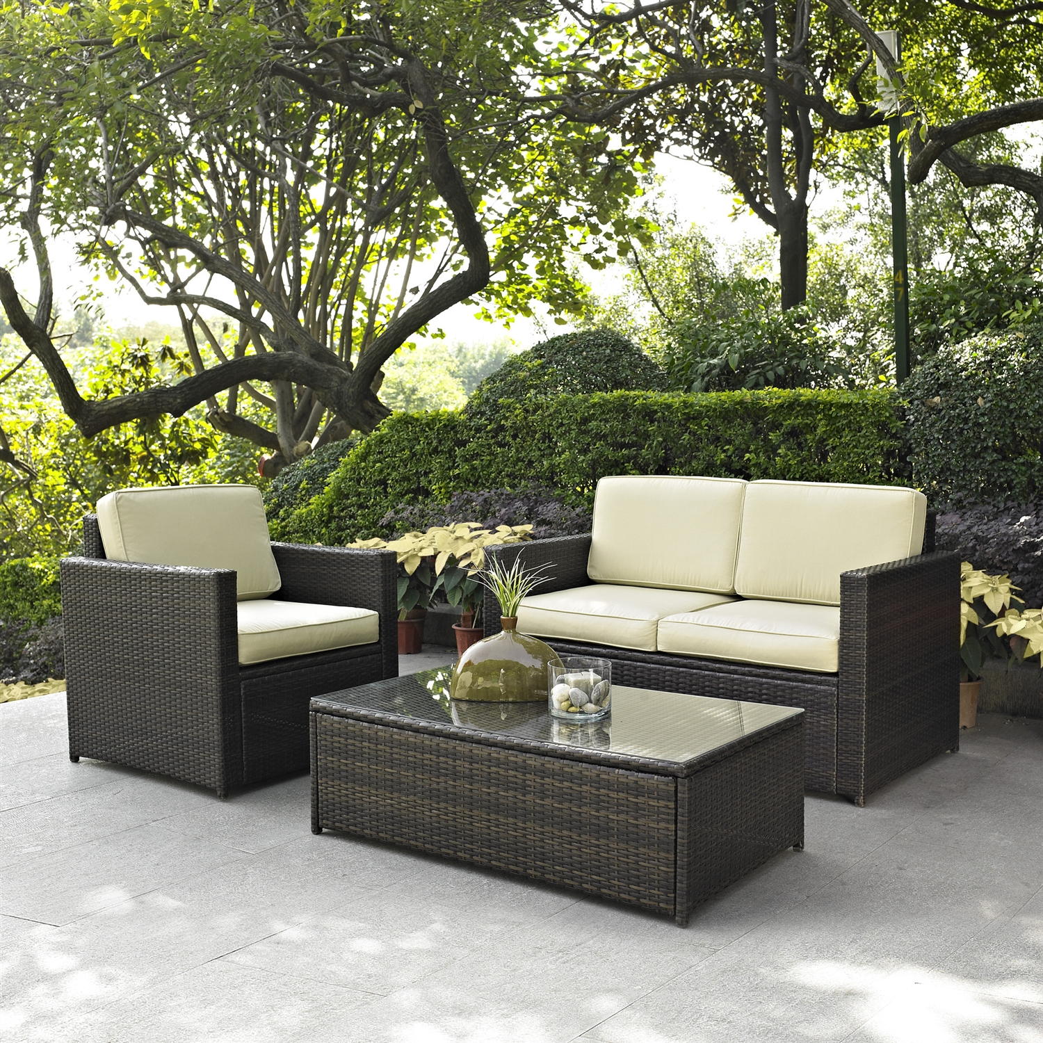Wicker Patio Chair 3 Piece Outdoor Patio Furniture Set With Chair Loveseat And Cocktail Table