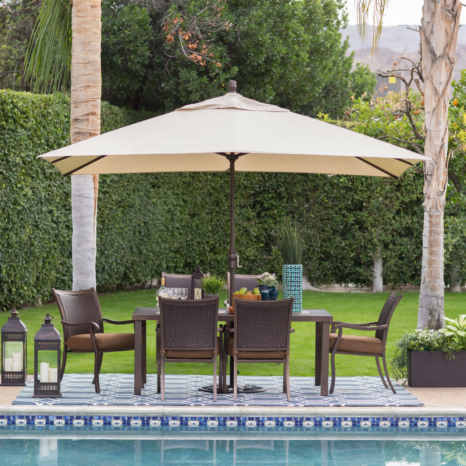 rectangle 8 ft x 11 ft patio umbrella with bronze finish pole and beige shade