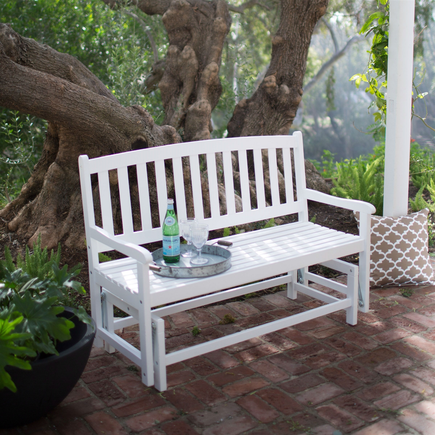 4-ft Outdoor Patio Glider Chair Loveseat Bench In White