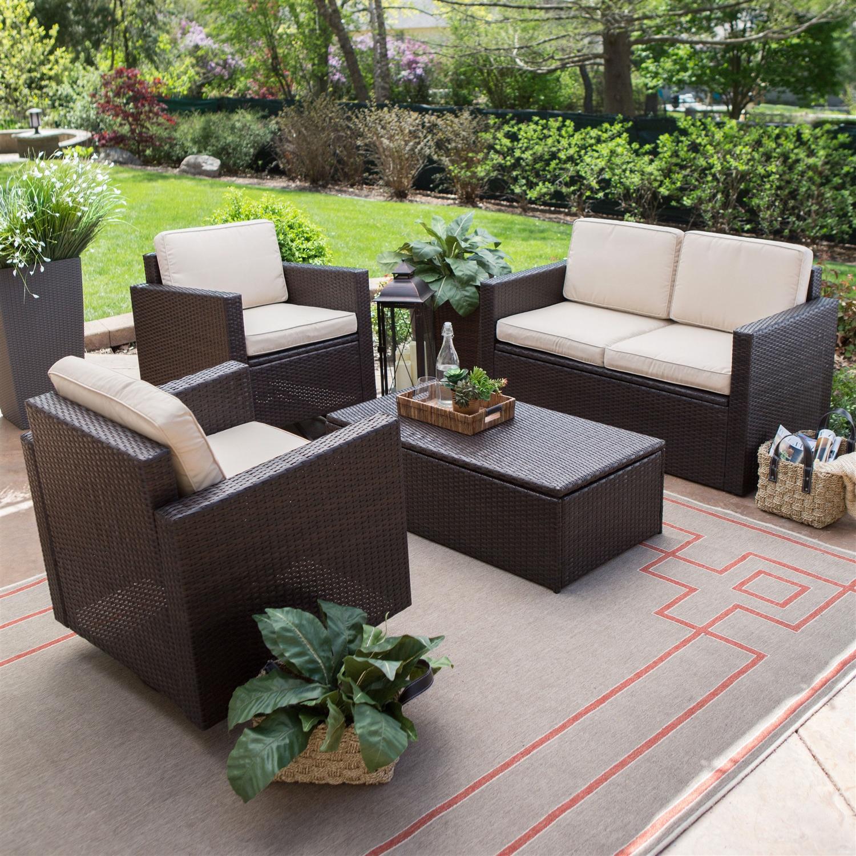outdoor brown wicker resin 4 piece patio furniture dinning set