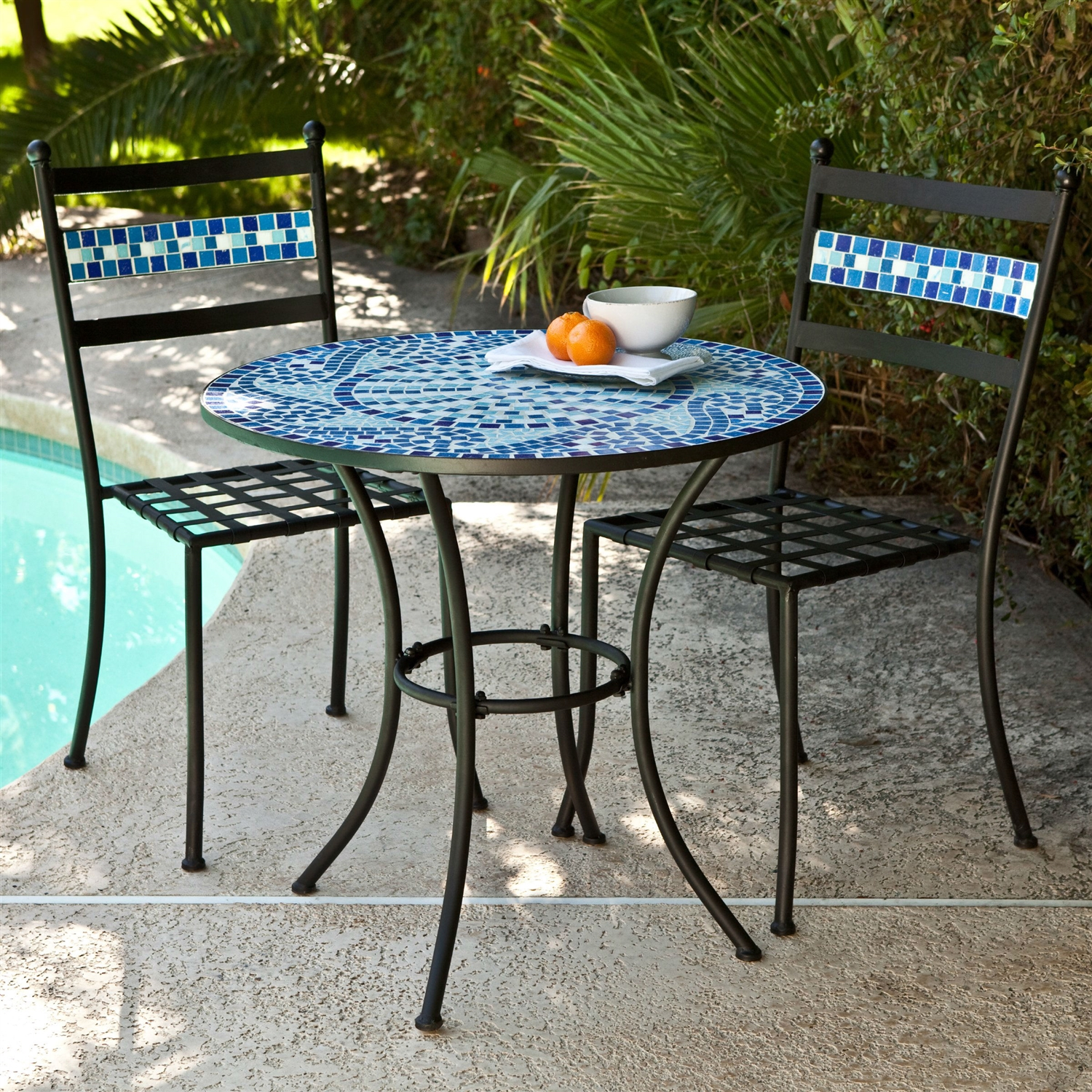 Outdoor 3-piece Aqua Blue Mosaic Tiles Patio Furniture