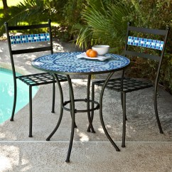 Blue Bistro Chairs Kitchen Island With Backs Outdoor 3 Piece Aqua Mosaic Tiles Patio Furniture