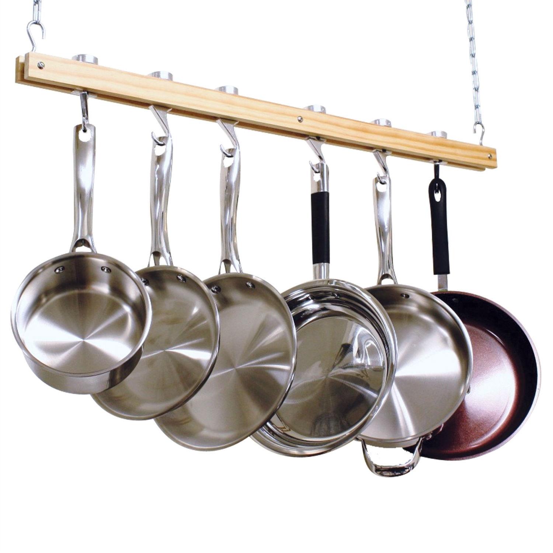 Ceiling Mount Single Bar Wooden Pot Rack with 4 Pan Hooks
