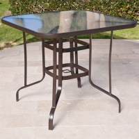 40-inch Outdoor Patio Dining Table with Glass Top and ...