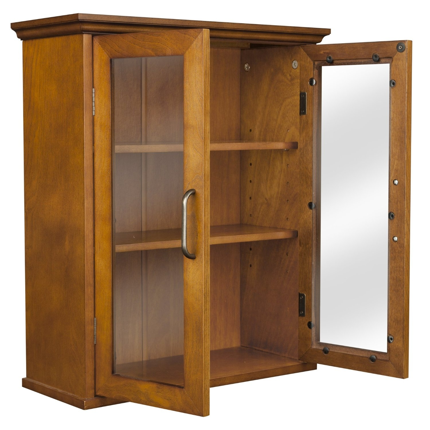 Oak Finish Bathroom Wall Cabinet with Glass 2Doors