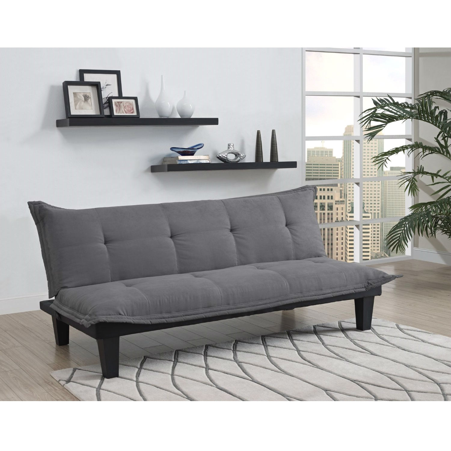 futon style living room warm neutral paint colors for uk charcoal microfiber click clack sofa bed lounger retail price 299 00