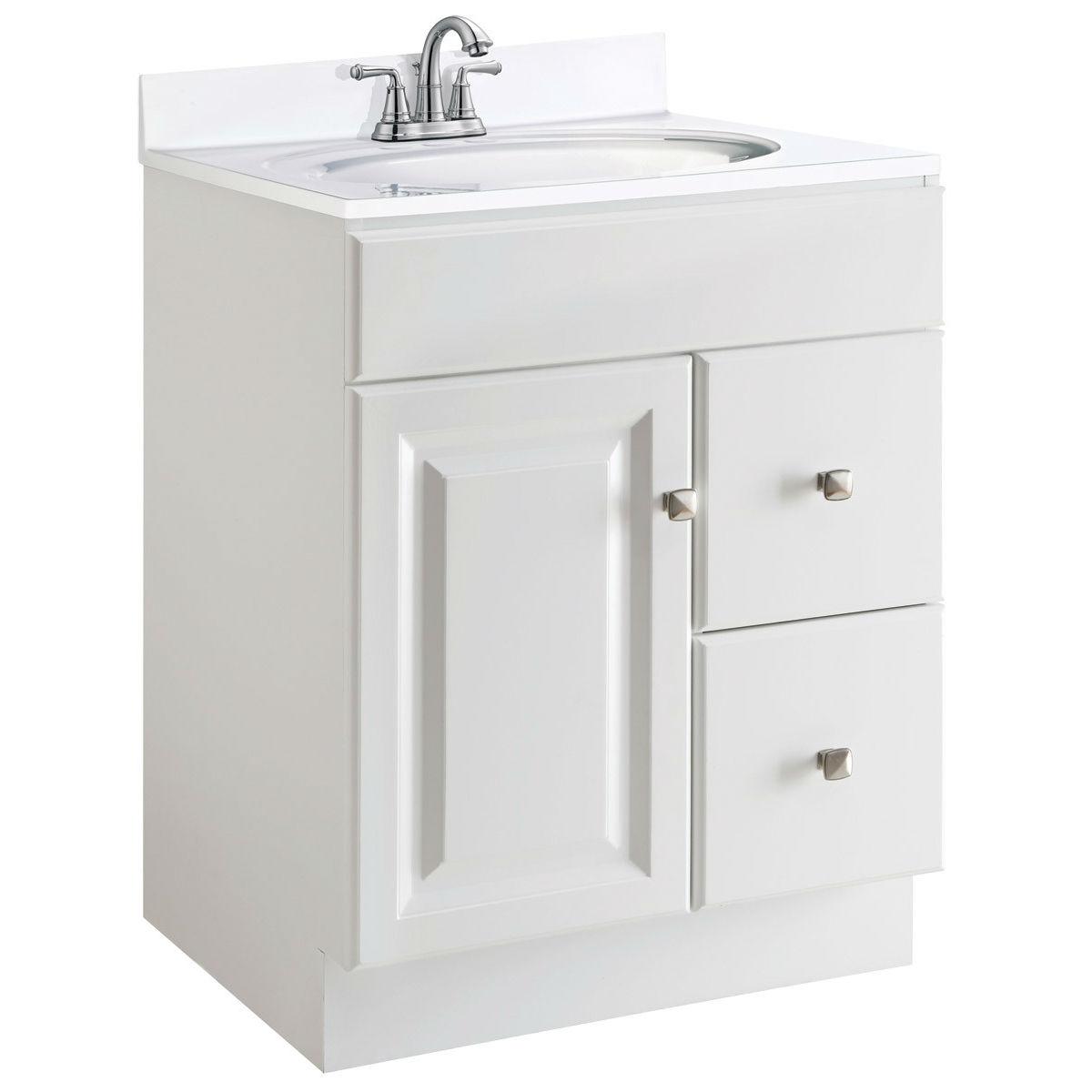24inch Modern Bathroom Vanity Cabinet Base in White Semi