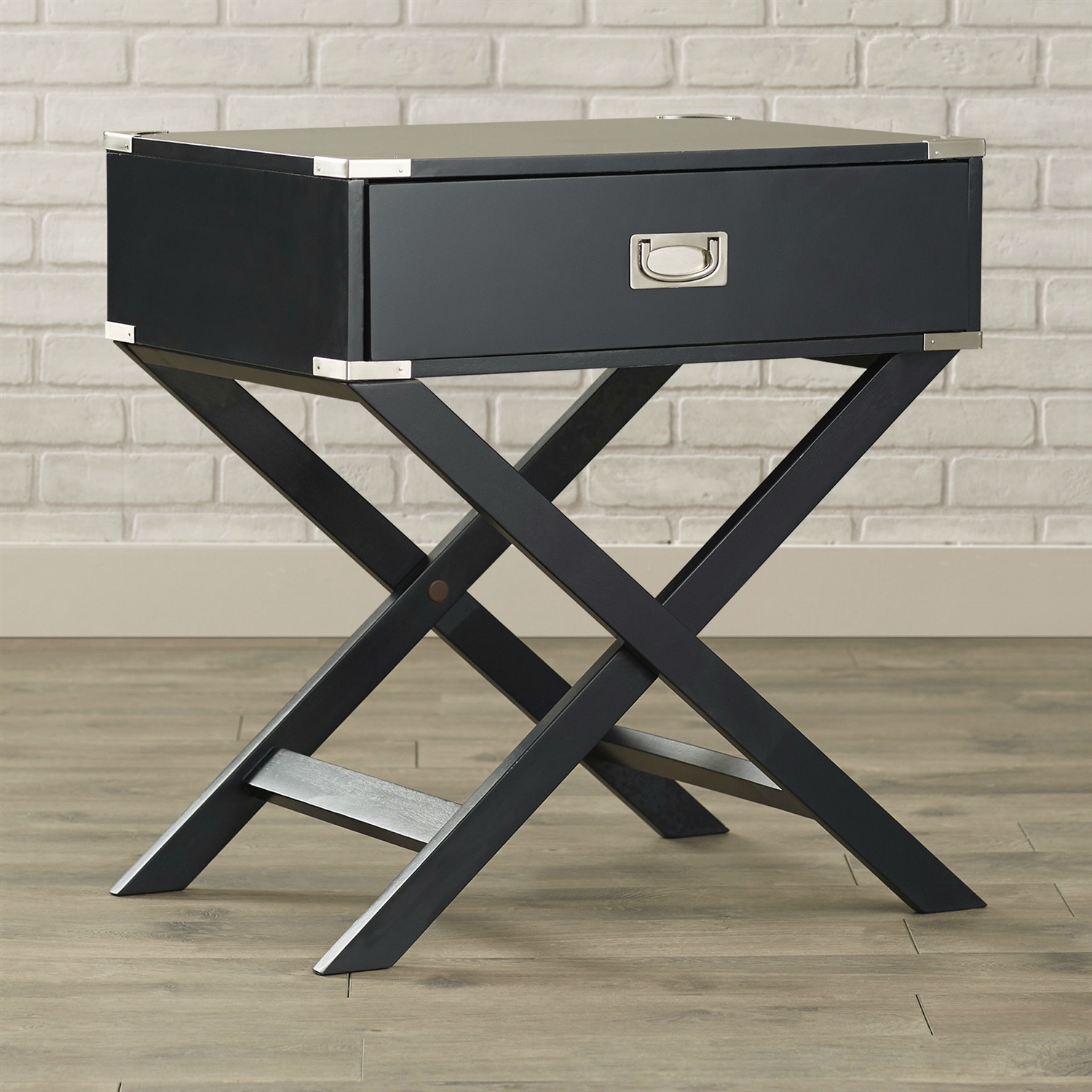 Dark Grey Black 1 Drawer End Table Nightstand With Modern Classic X Style Legs