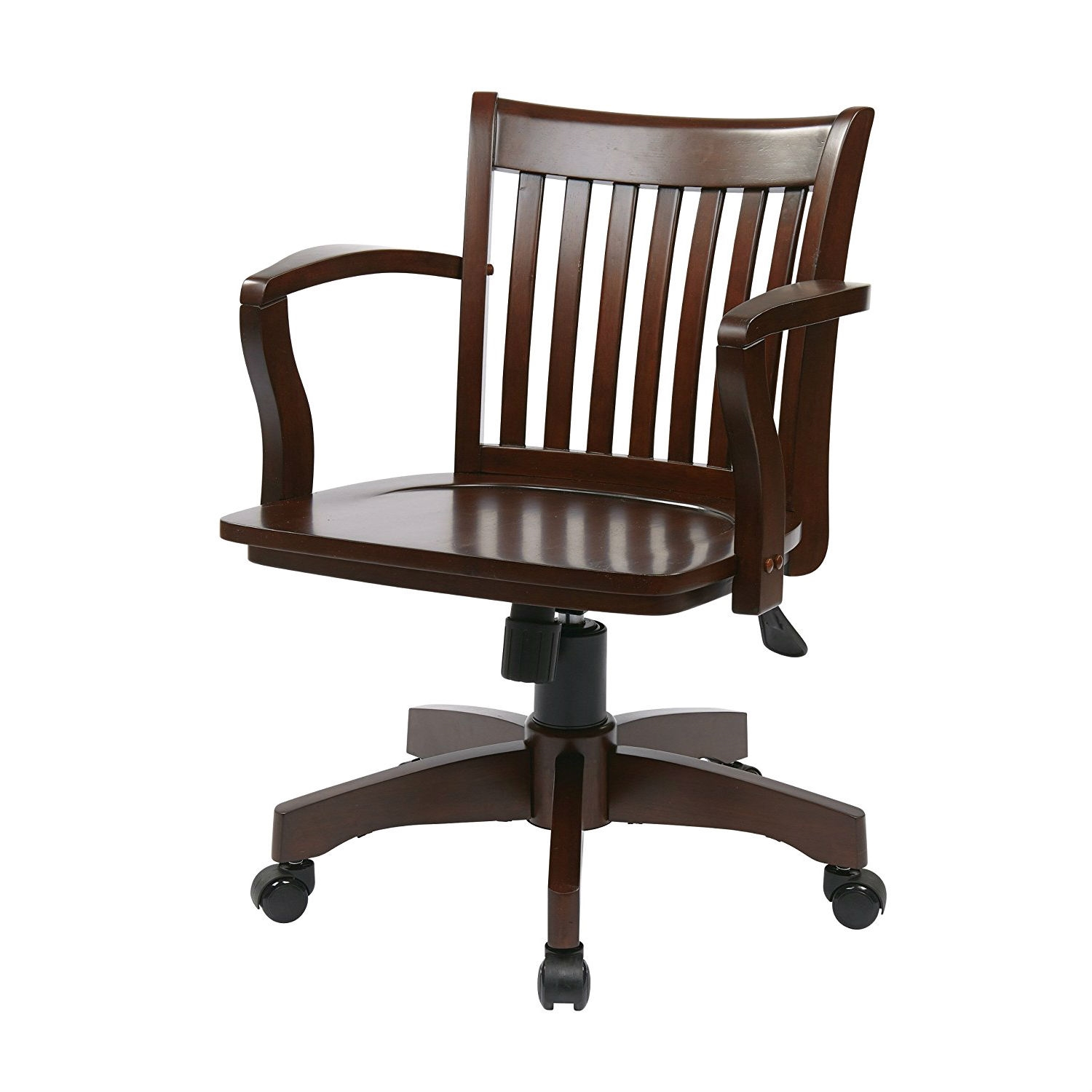 Wooden Bankers Chair Espresso Wood Bankers Chair With Wooden Arms And Seat