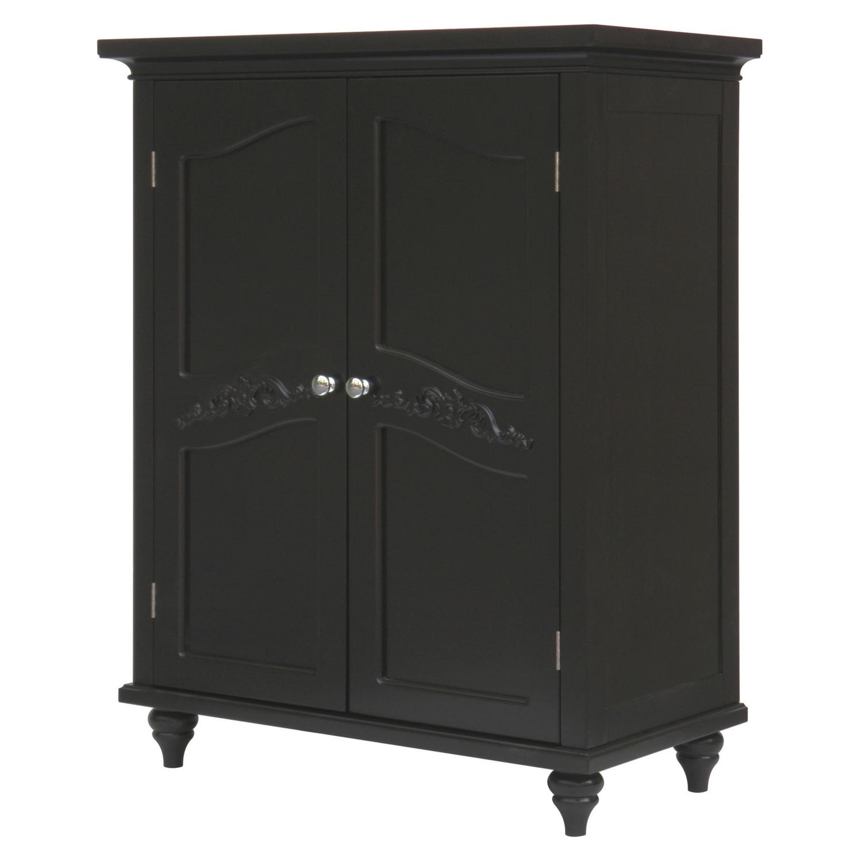 Dark Espresso Wood Bathroom Floor Cabinet with Traditional