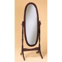 Cherry Finish Cheval Mirror Full Length Solid Wood Floor ...