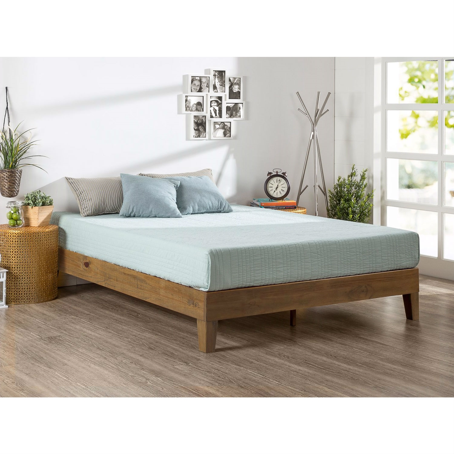 Full Size Solid Wood Low Profile Platform Bed Frame In Pine Finish Fastfurnishings Com