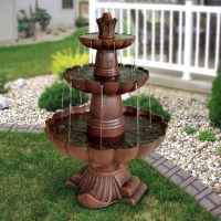 3-Tier Outdoor Garden Fountain in Durable Poly-Vinyl ...