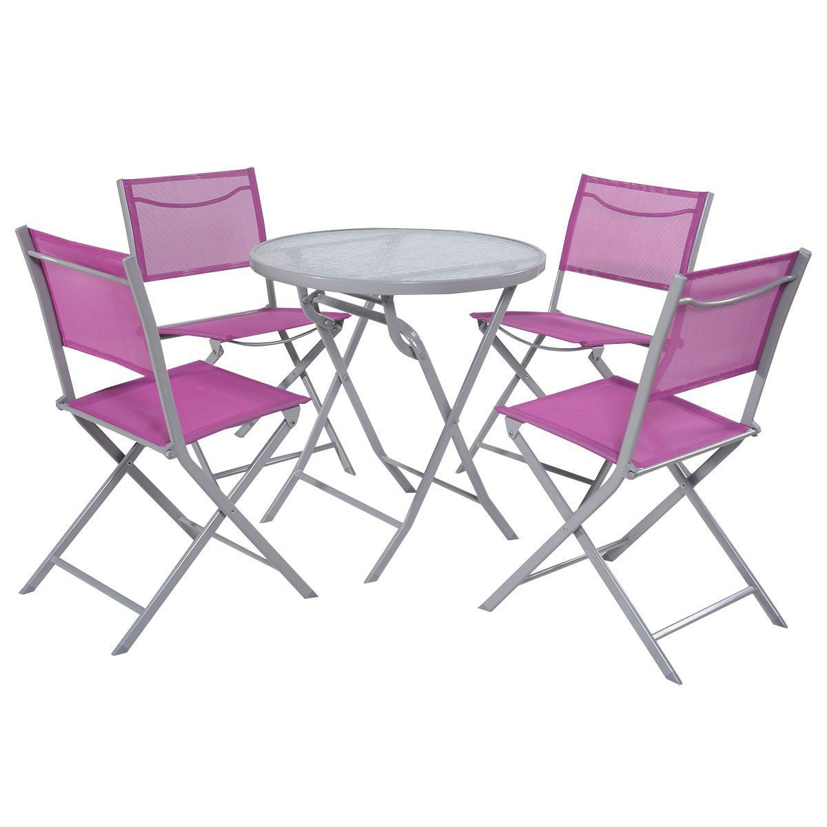 Patio Folding Chairs Pink Purple Rose Red 5 Piece Folding Chairs And Table Outdoor Patio Furniture Set
