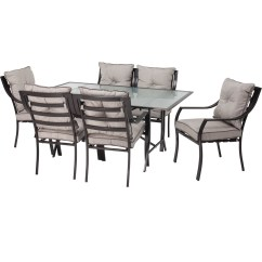 Metal Patio Chair Striped Slipper 7 Piece Outdoor Furniture Dining Set With Cushions Fastfurnishings Com