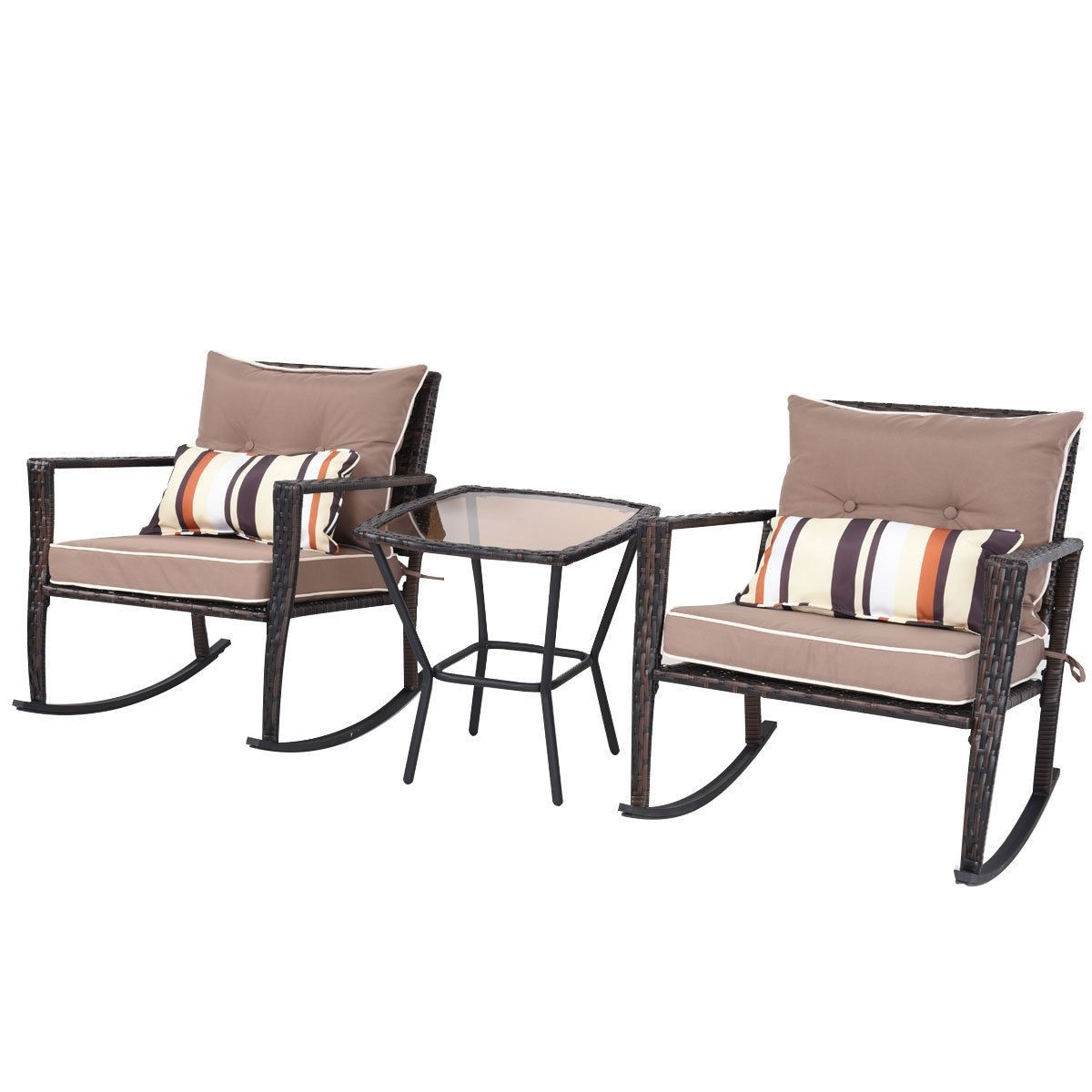 Wicker Rocking Chair Brown 3 Piece Patio Set Rattan Wicker Rocking Chairs With Coffee Table