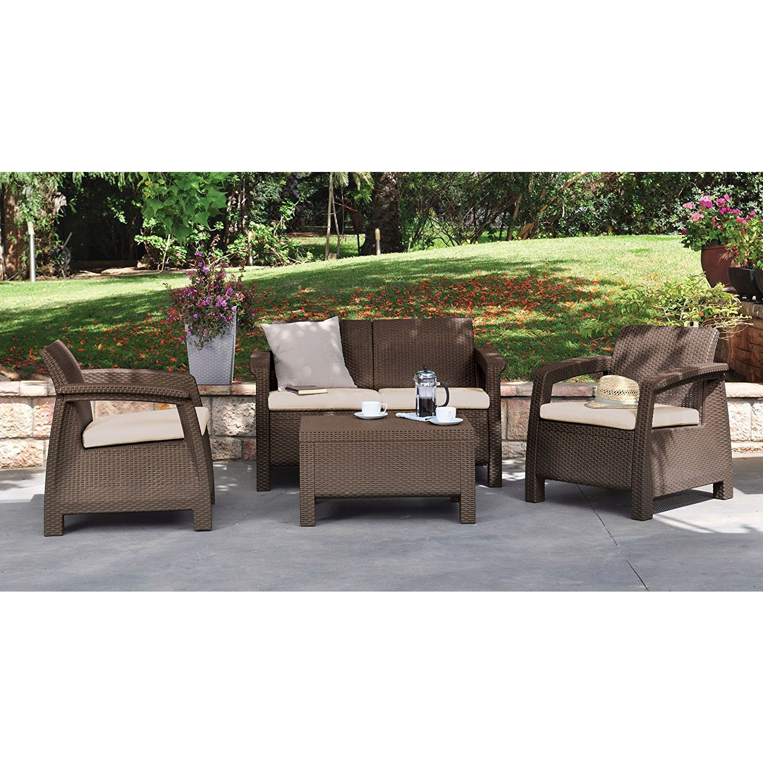 Wicker Patio Chair Brown Resin Wicker Patio Furniture Set With Off White Cushions