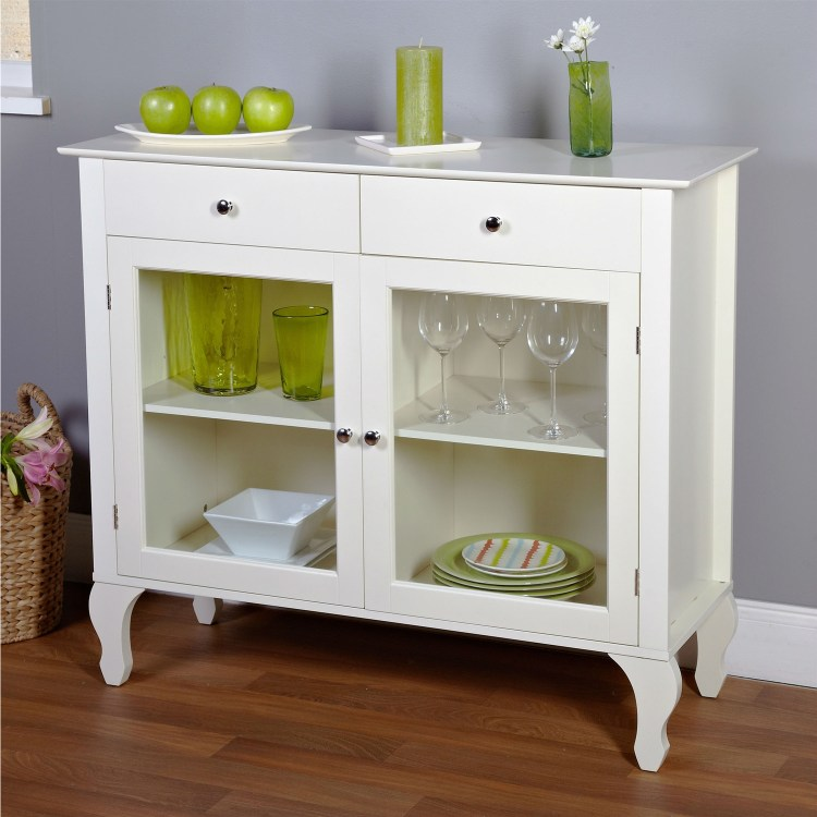 Antique White Sideboard Buffet Console Table With Glass Doors Fastfurnishings Com